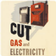 Cut Gas & Electricity drinks mat / coaster  REDUCED TO CLEAR